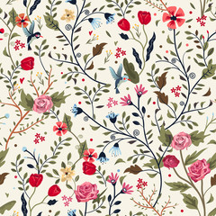 colorful adorable seamless floral pattern