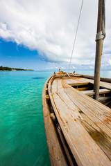 Old wooden boat in the Indian ocean, Maldives