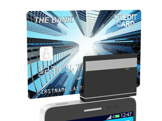 Mobile Banking and Payment Concept. Smart Phone and Credit Card