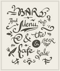 Bar and cafe menu