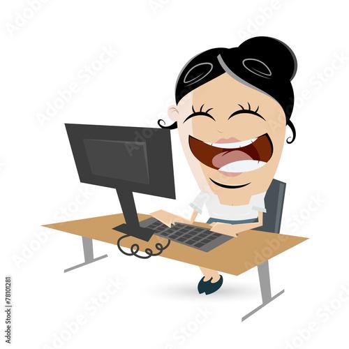 Schreibtisch büro comic  business frau schreibtisch job