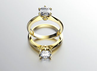 Engagement  gold ring with diamond. Jewelry background