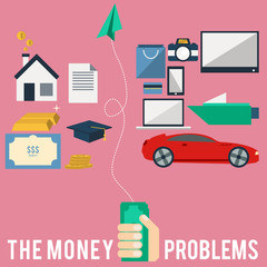 The creative flat design icon of money problems