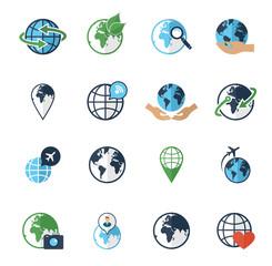 Globe earth icons set flat