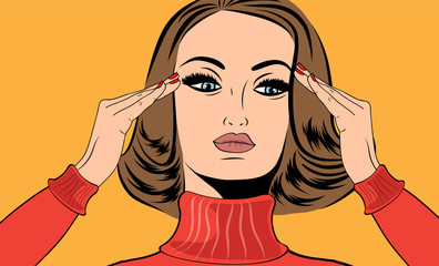 pop art retro woman in comics style with migraine