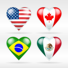 USA, Canada, Brazil and Mexico heart flag set of American states