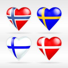 Norway, Sweden, Finland and Denmark heart flag set