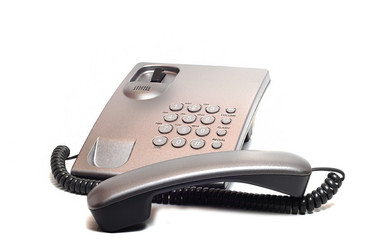 landline phone of gray on a white background