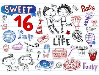 Sweet 16 party, doodle set