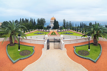 Bahai Gardens with Shrine of the Bab in Haifa, Israel