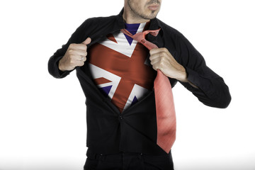 Man with Great Britain Flag under Shirt