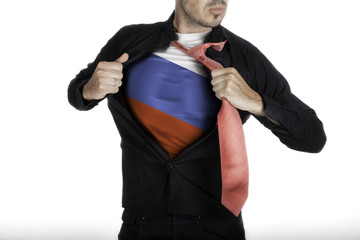 Man with Russian Flag under Shirt