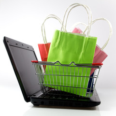 shopping bag with purchase on computer