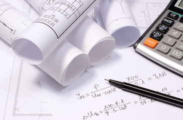 diagrams, calculator and mathematical calculations