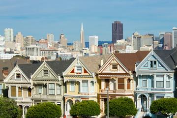 San Francisco downtown buildings skyline painted ladies