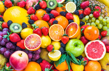 Poster Fruits Mixed fruits.Fruits background.Healthy eating, dieting.