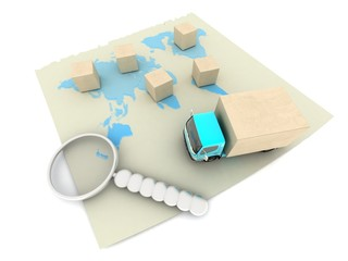 Maps,3D illustration: Trucking.