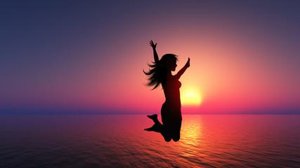 Female jumping for joy
