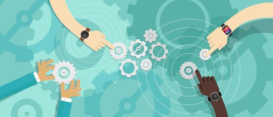 vector working crowdsource engine  gear people meeting