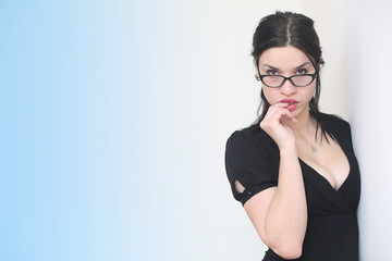 Beautiful sexy woman in eyeglasses