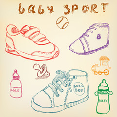 Baby shoes set sketch handdrawn color crayons outlined