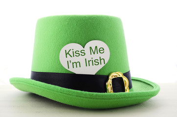 St Patricks Day green leprechaun hat with Kiss Me greeting