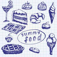 Food deserts set sketch handdrawn on notebook paper
