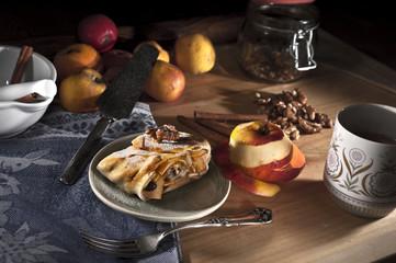 Apple strudel with walnuts and raisins