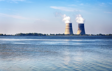 Cooling towers with steam from a nuclear power station