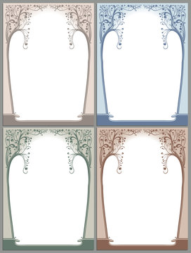 Abstract framework in style art-nouveau. Four options.