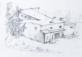 House in forest, abstract pencil sketch