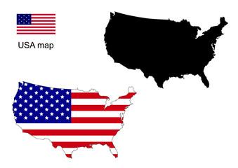 USA map vector, USA flag vector