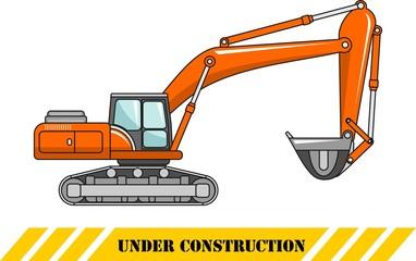 Excavator. Heavy construction machine. Vector illustration