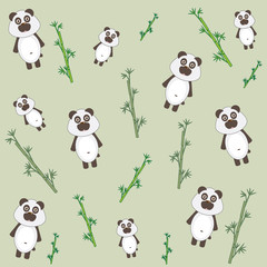 Panda and bamboo vector illustration.