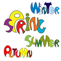 Spring, Summer, Autumn, Winter. Design of the text