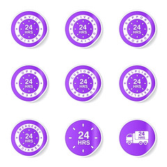 24 Hours Services Violet Vector Button Icon Design Set