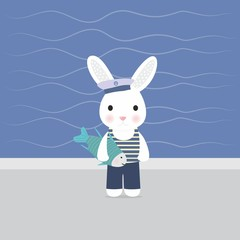 Bunny sailor holds in paws fish