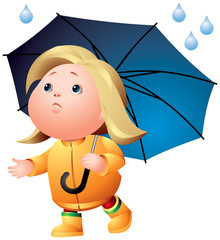 Rain weather, girl with umbrella