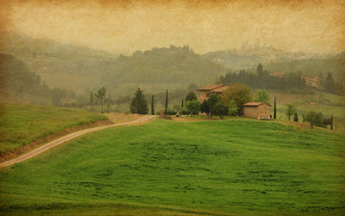 Typical tuscan farm, Italy. Added paper texture.
