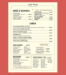 Menu Design for Lunch Restaurant Cafe Graphic Design Template la