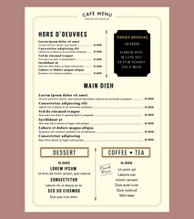 Menu Design for Restaurant Cafe Graphic Design Template layout V