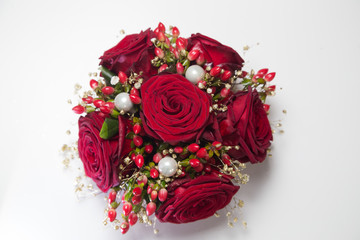 Arrangement of red roses bouquet  for christmas