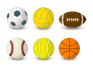 Sport Bälle Icons sportlich Fußball  Basketball Volleyball