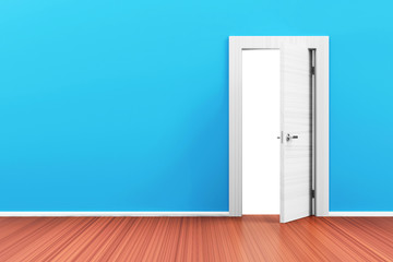 Empty Room 3D Interior with Opened Door