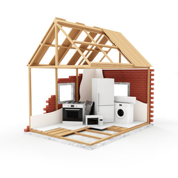 House Under Construction with group of home appliances