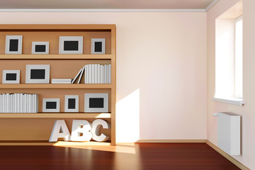 Modern Room 3D Interior with Book Shelf