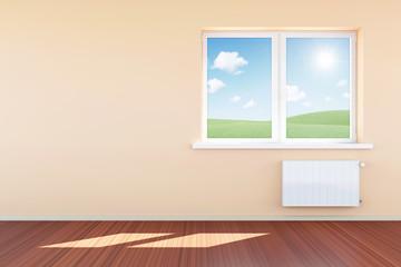 Modern Empty Room 3D Interior with Window in Light Tones