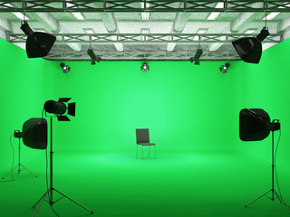 Pavilion Interior of Film Studio with Green Screen