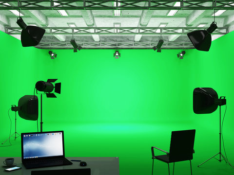 Pavilion Interior of Film Studio with Green Screen