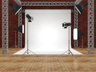 Interior of Modern Photo Studio with Equipment